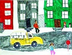 drawing of school bus in the Bronx