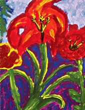 child's lilies painting, from A Vision Of The Heart