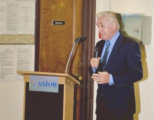 Congressman Maurice Hinchey addresses the audience at Astor school opening