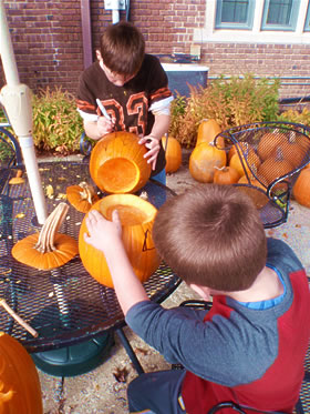 Pumpkin carving at Astor Residential Treatment Center