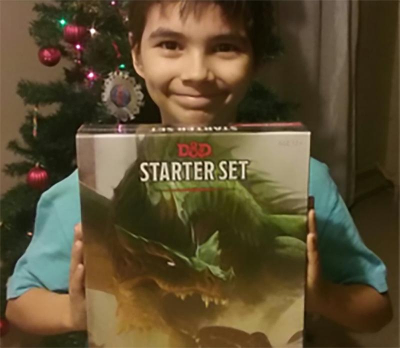 Jayden with gift